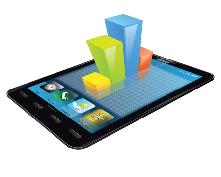 Tablet with 3d bar graph Ilustração