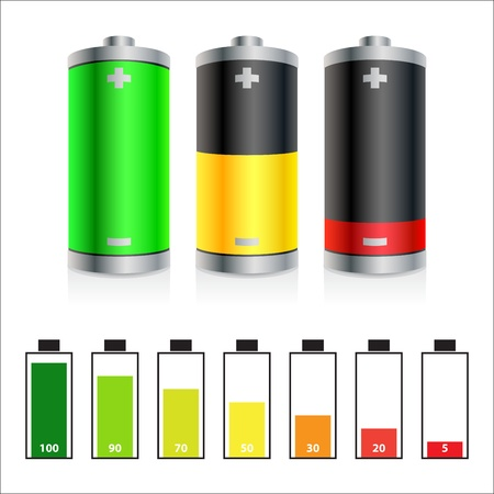 polarity: Colorful batteries icons and symbols of battery level