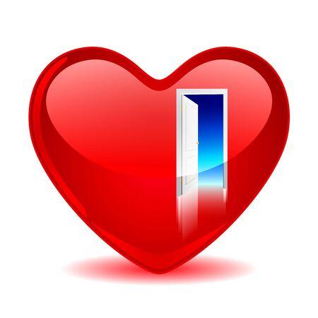 Red heart with an open door Ilustração