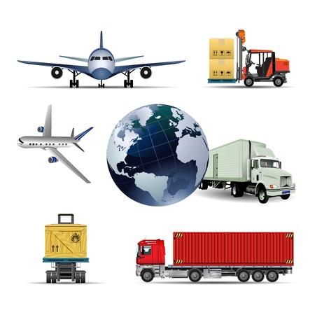 курьер: Упаковочная коробка с грузовиком, самолет и мира международного Иллюстрация