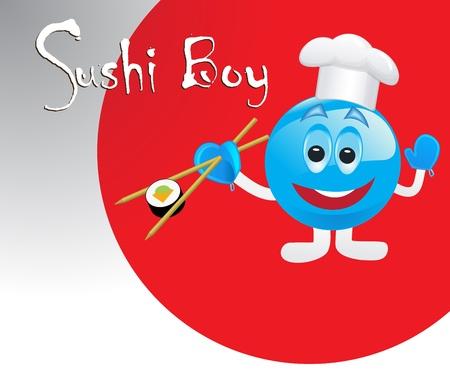 cute sushi boy  Ilustração