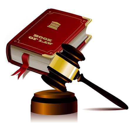 legal gavel and law book on a white background