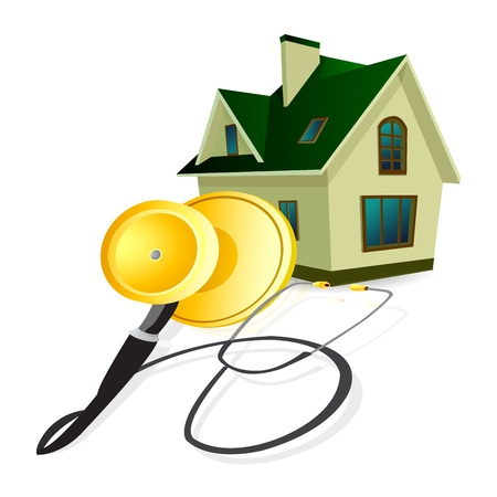 A house with a stethoscope wrapped round it Stock Vector - 16877683