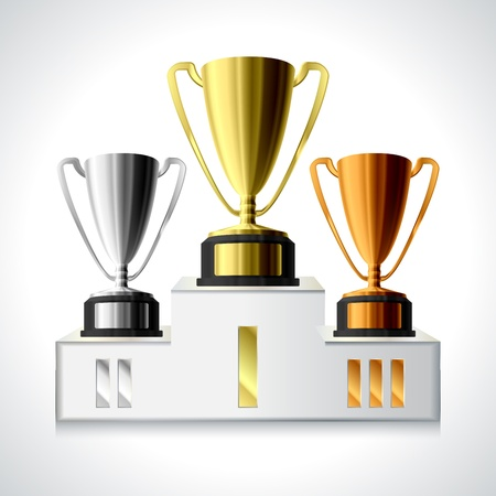 Gold, silver and bronze trophy cups on pedestal isolated Ilustração