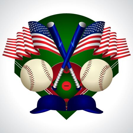 Emblem of USA flag and baseball equipment