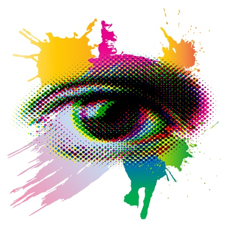 visual art: colorful halftone screen eye pop art