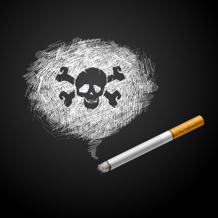 Cigarette with Smoke is line drawing and human scull on black