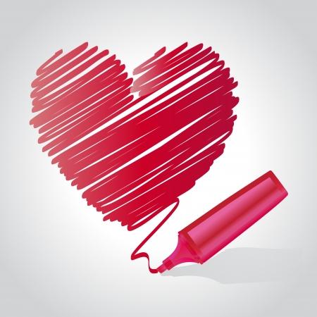Heart drawn using a marker pen Vector illustration Ilustração