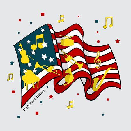 Flag of American Music Festival Vector