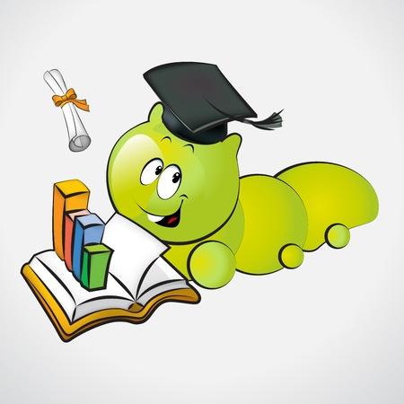 bücherwurm: Bookworm mit Graduation Cap und Holding ein Diplom