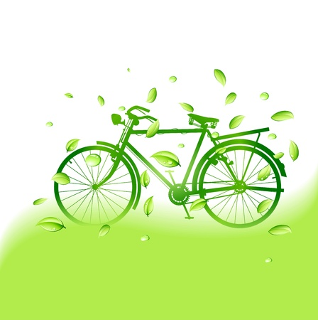 green bike with eco background Stock Vector - 16877697