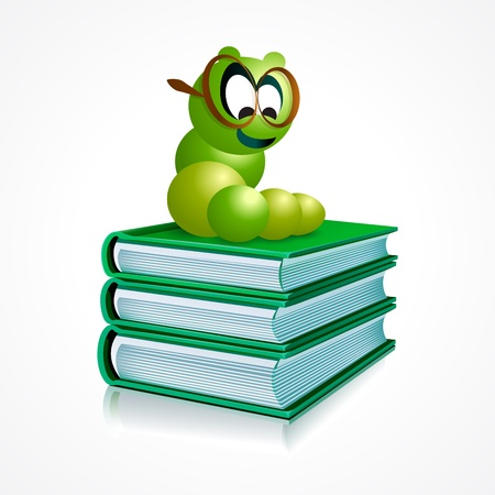 vector illustration of a book worm on books