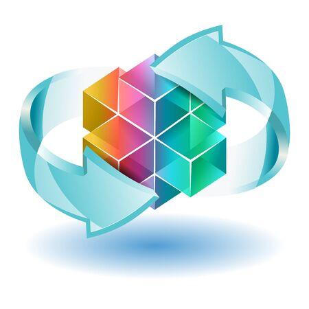 3D plus Schild mit Pfeil-Zyklus