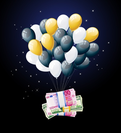 money tied to balloon and floating Stock Vector - 16926149