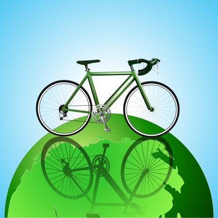 Bicycle on the globe ecology background Ilustração