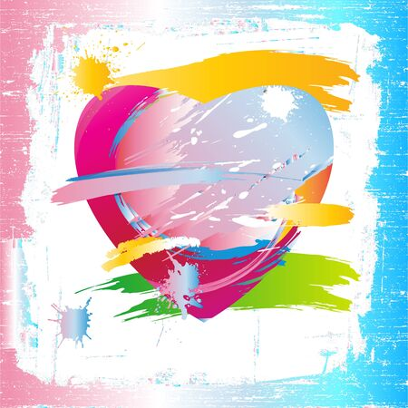 Colorful heart of the painting brush Vector