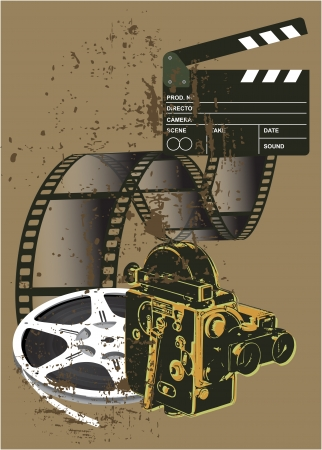 Film Festival poster with grunge background Vector