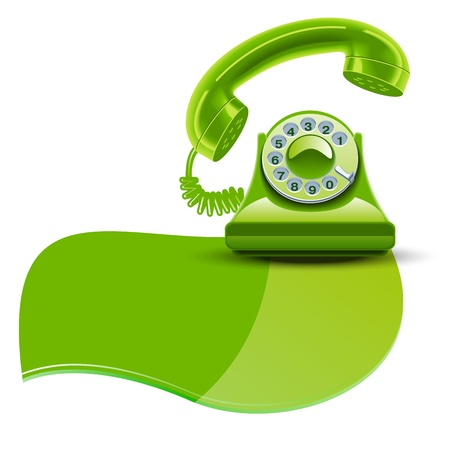 cable telefono: Teléfono verde brillante aislado fondo blanco
