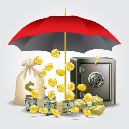 protecting money and save money concept Vector
