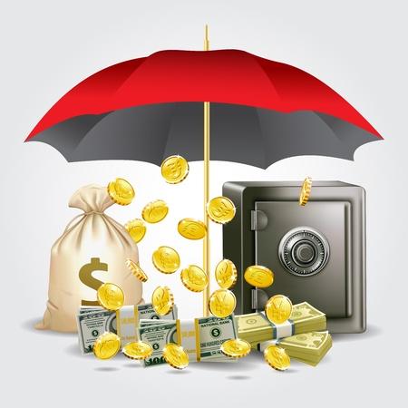 Schutz Geld und Geld sparen Konzept Illustration