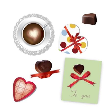 Kopje Koffie Met Hart en liefde chocolade set