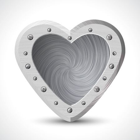 Iron heart on Isolated white background