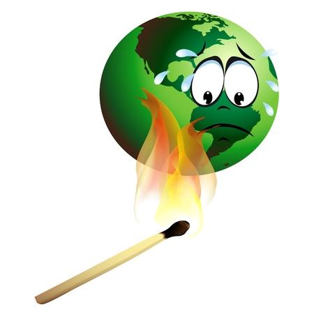 burning earth Global warming concept Ilustração