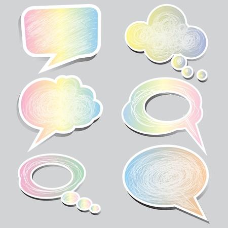 pastel color speech bubbles and dialog balloons set