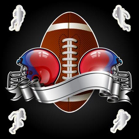 bannière football: Emblème du football américain avec le casque sur fond noir Illustration