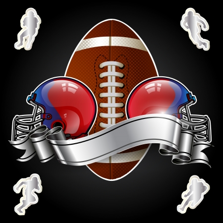 casco rojo: Emblema del fútbol americano con casco en fondo negro