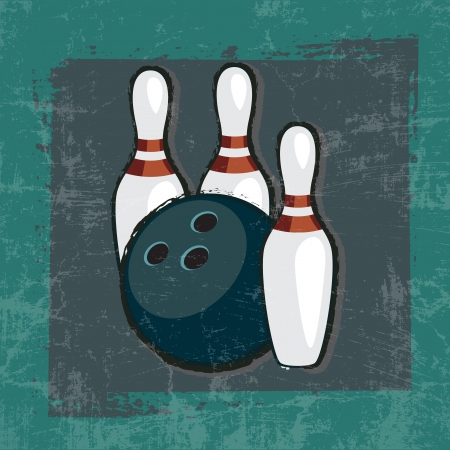 bowling ball and pins in frame with Grunge Effect Vector