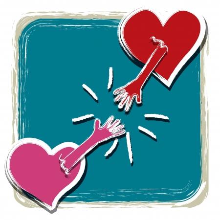 Corazón con una mano coger juntos Vectores