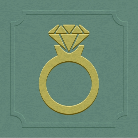 The embossed wedding or engagement ring symbol