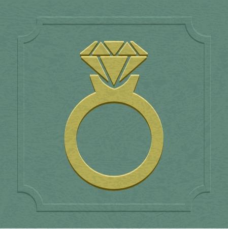 La boda en relieve o símbolo anillo de compromiso