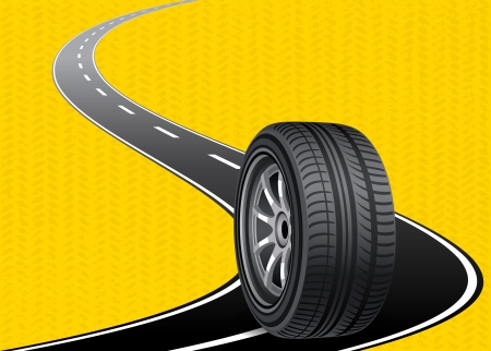 automobile tire on the road curved with yellow blackground