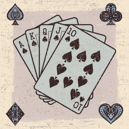 Illustrator of Playing Cards with Grunge Effect Vector