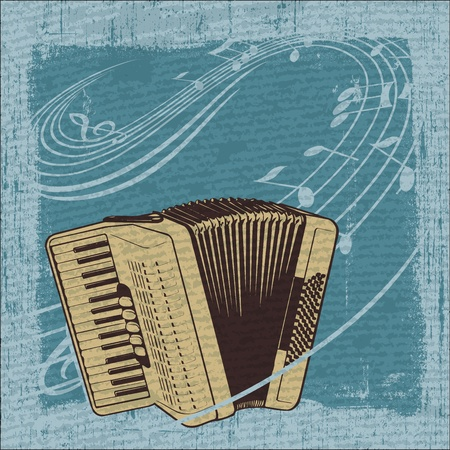 accordion: Illustrator of Accordion in frame with Grunge Effect