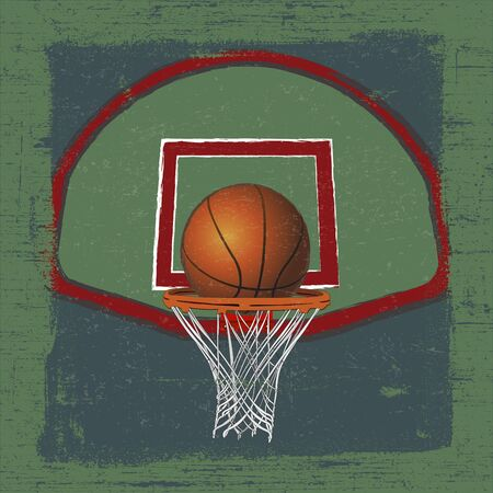 Basketball ball on a basketball hoop with Grunge Effect Vector