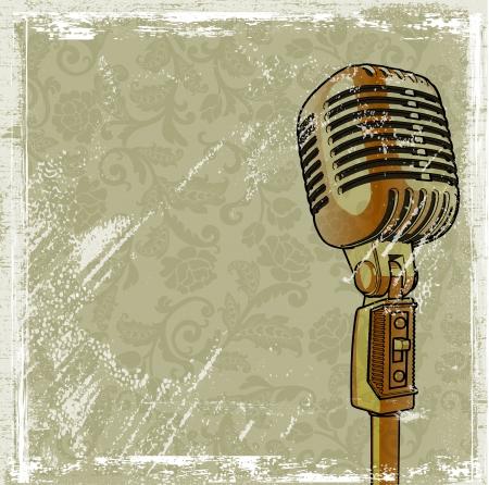 musica electronica: Micr�fono retro con efecto grunge fondo Vectores