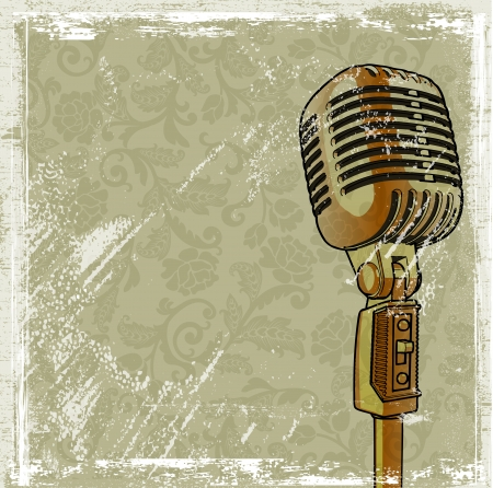 electronic music: Retro microphone with grunge effect background