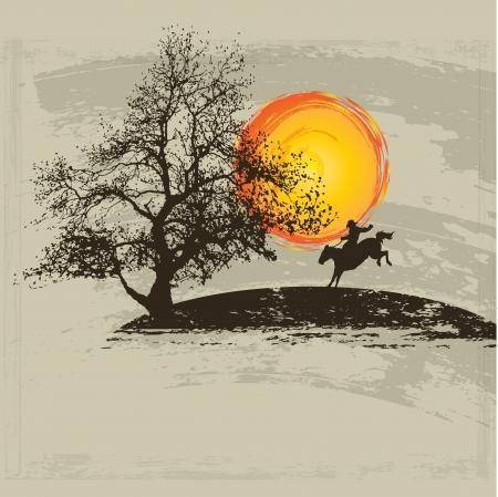 oeste: vaqueros silueta contra una puesta de sol de fondo ilustración Vectores