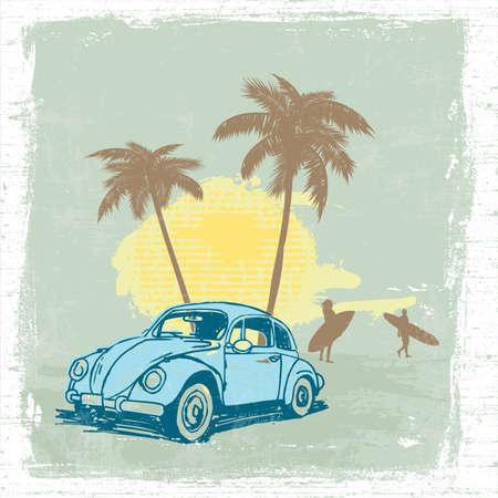surf silhouettes: illustrazione estate con il tramonto auto d'epoca e il surf Vettoriali