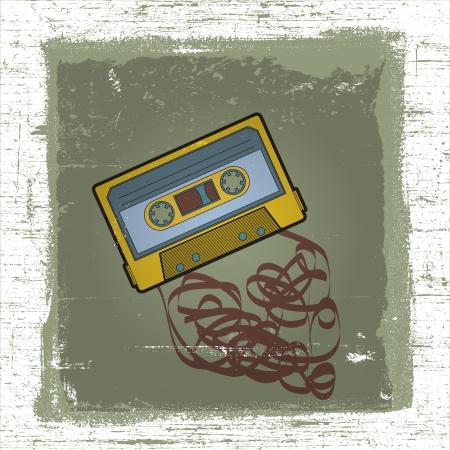 cassette tape with grunge effect background Ilustração