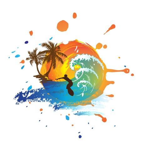 surf silhouettes: grunge illustrazione tramonto d'estate e il surf
