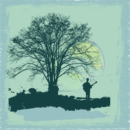 lit image: man with guitar at sunset and tree background Illustration