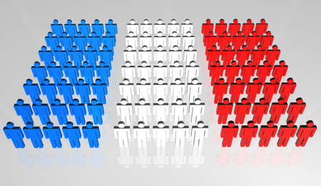 frontal view: Group of abstract people forming a frontal view of French flag Stock Photo