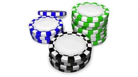 Colored casino chips isolated on white background. Archivio Fotografico