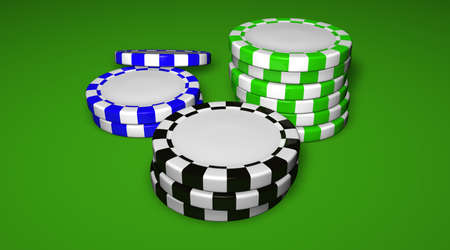 Casino chips on green background with a central blank space for your logo.
