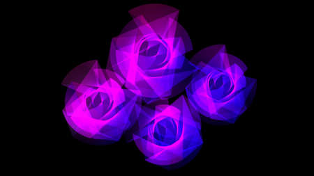 Futuristic light flowers in blue and white harmonic lines. photo