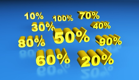cheapness: 3D rendering of gold percentage signs.